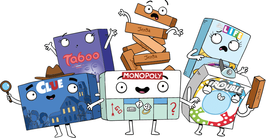 Hasbro Gaming Characters Set - Taboo, Jenga, Game of Life, Clue, Monopoly, Trouble