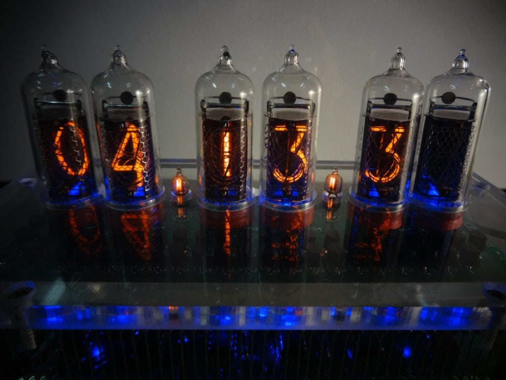 Close up of Nixie Tube showing 04 13 3