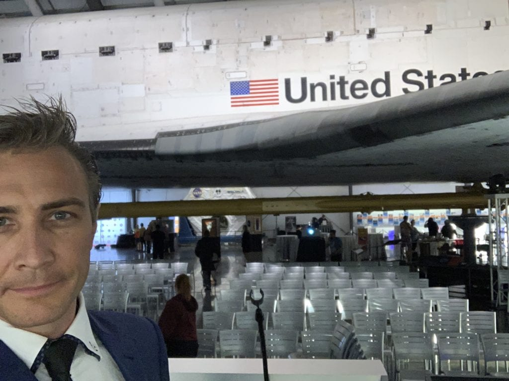 Gray Bright at Yuri's Night in front of Space Shuttle Endeavour 2019