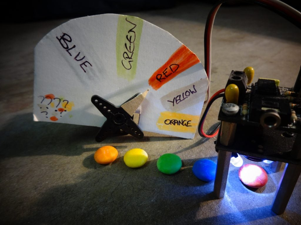 M&M's Color Sorter Overview of device with servo motor close up